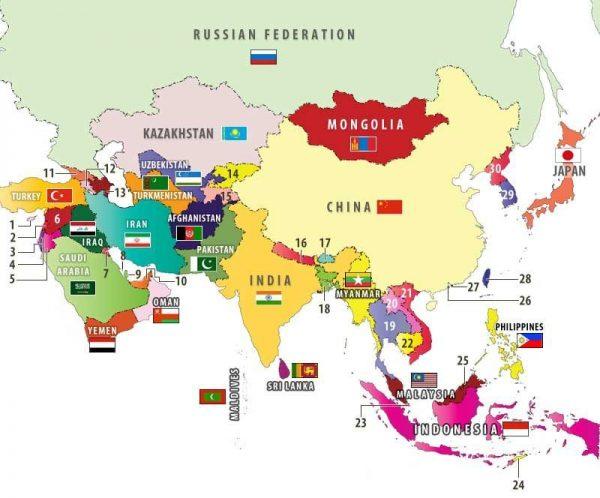 bản đồ các nước châu á